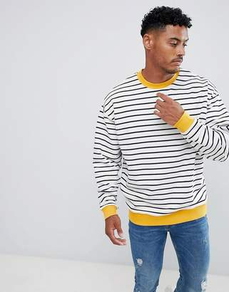 Asos Design DESIGN oversized sweatshirt in stripes with contrast ribs