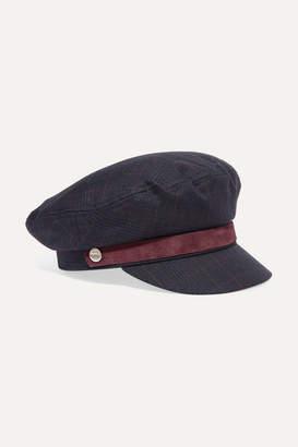 Rag & Bone Velvet-trimmed Checked Tweed Cap - Navy