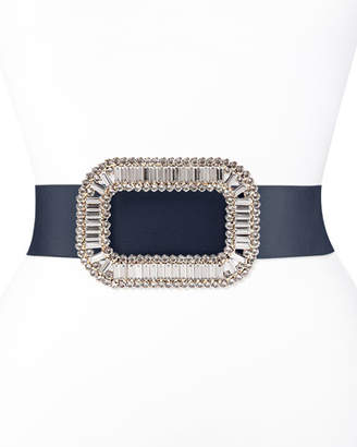 Roger Vivier Pilgrim Crystal-Buckle Belt, Navy