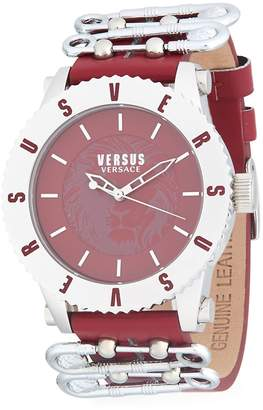Versace Women's Water Resistant Stainless Steel Leather-Strap Watch