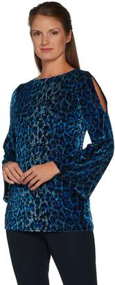 Susan Graver Printed Burnout Velvet Split Sleeve Tunic