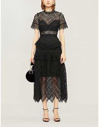 Self-Portrait Abstract triangle-lace midi dress