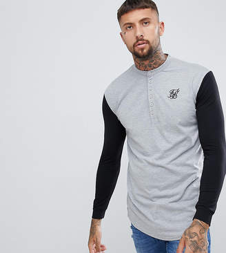 SikSilk Muscle Long Sleeve Top in Gray With Contrast Sleeves