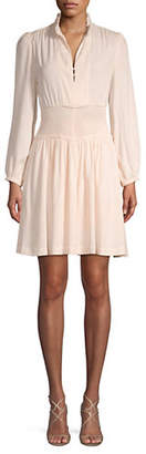 Maje Ruched Neck Long Sleeve Dress