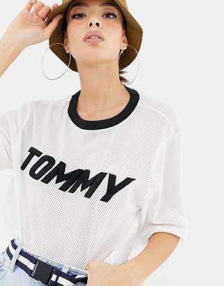 Tommy Hilfiger X Gigi Hadid Racing mesh crop top