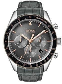 BOSS Trophy Chronograph Stainless Steel Leather-Strap Watch
