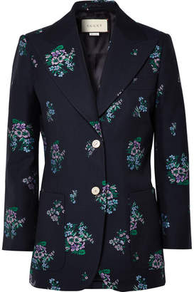 Gucci Cotton And Wool-blend Jacquard Blazer - Navy