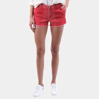 Frame Le Cutoff Shadow-Patch Short in Crimson