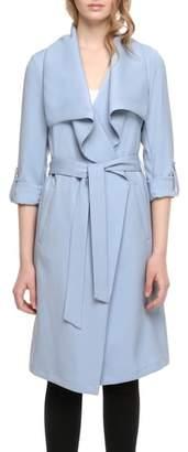 Soia & Kyo Roll Sleeve Drape Front Long Trench Coat
