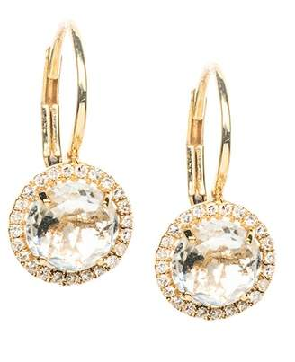 Ef Collection 14K Yellow Gold Diamond & Topaz Round Drop Earrings