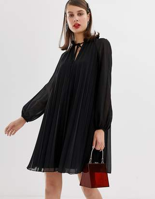 Asos Design DESIGN pleated trapeze mini dress with tie neck