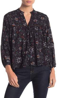 Love Stitch Floral Split Neck Blouse