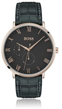 BOSS Three-hand watch with crocodile-patterned leather strap