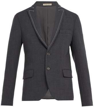 Bottega Veneta - Chain Embroidered Wool Blend Blazer - Mens - Grey