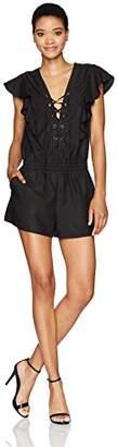 224924d7601a BCBGMAXAZRIA Women s Kenzi-Lace Front and Tie Waist Woven Sportswear Romper