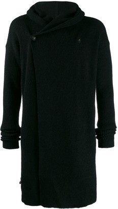 Rick Owens long line knit hoodie