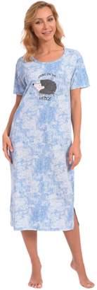 "Patricia from Paris Women's Cute ""Living On The Hedge"" Long Lounger Sleepshirt (Blue Splatter Print, L)"