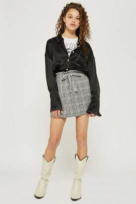 Topshop Petite Checked Paper Bag Skirt