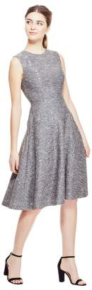 Lela Rose Sequin Embroidered Tweed Seamed Full Skirt Dress