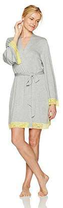 Mae Women's Jersey Robe with Lace Trim