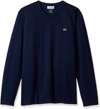 Lacoste Men's Long Sleeve Jersey Pima Reg Fit V Neck T-Shirt-TH6711
