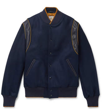 GoldenBear Golden Bear The Hayes Leather-Trimmed Wool-Blend Bomber Jacket