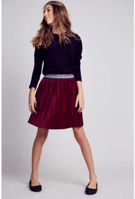 George Plum Glittering Waistband Pleat Velour Skirt
