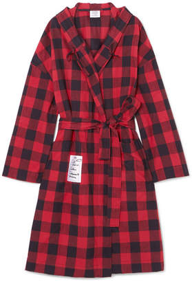 Vetements Oversized Hooded Checked Cotton-flannel Jacket - Red