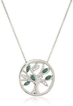 Swarovski Platinum-Plated Sterling Silver Zirconia Green Tree of life Pendant Necklace