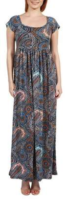 24/7 Comfort Apparel Women's Emilia Blue Paisley Empire Waist Maxi Dress