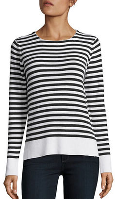 Design Lab Lord & Taylor Long Sleeve Striped Sweater $68 thestylecure.com
