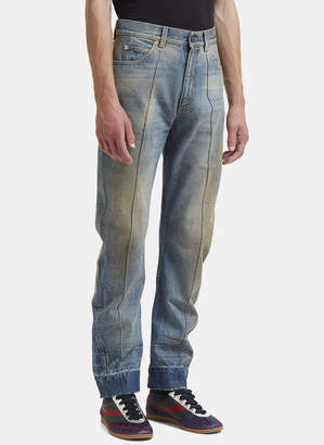 Gucci Distressed Stone Washed Jeans in Blue