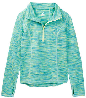 Z By Zella Spacedye Half Zip Perforated Top (Little Girls & Big Girls) $28.97 thestylecure.com