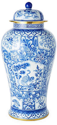"One Kings Lane 21"" Paneled Ginger Jar - Blue/White"