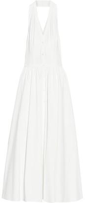 Michael Kors Collection - Halterneck Stretch-cotton Poplin Dress - Off-white $1,595 thestylecure.com