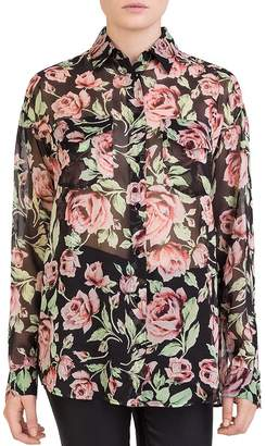 The Kooples Silk Rose-Print Shirt