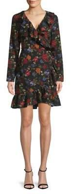 Kensie Long Sleeve Floral Wrap Dress