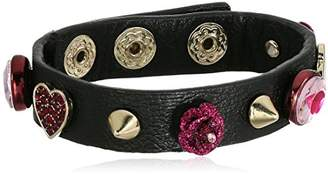 Betsey Johnson Roses Black Leather with Details Wrap Bracelet