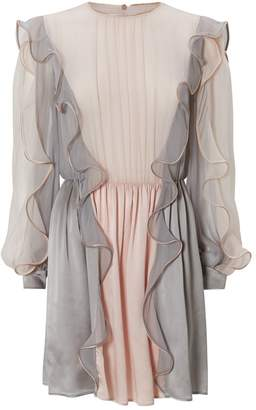 Alberta Ferretti Silk Ruffle Mini Dress