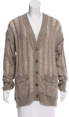 360 Cashmere Distressed Wool Cardigan