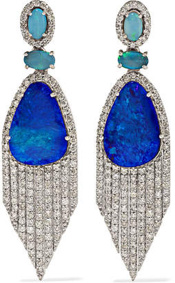 Amrapali 18-karat White Gold, Diamond And Opal Earrings