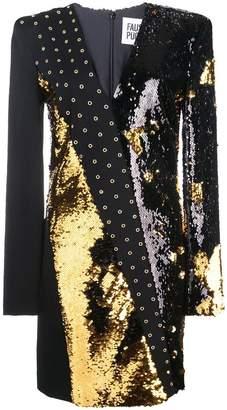Fausto Puglisi sequinned plunge neck mini dress