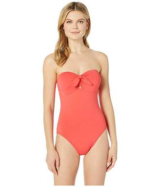 MICHAEL Michael Kors Tie Front Bandeau One-Piece with Removable Soft Cups Removeable Straps