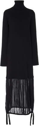 Tibi Paneled Wool Turtleneck Midi Dress