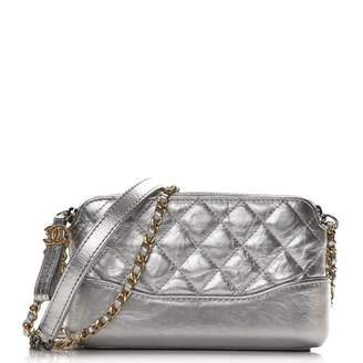 Chanel Gabrielle Clutch With Chain Quilted Diamond Metallic Small Silver