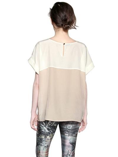 Emma Cook Polka Dots Printed Silk Satin T-Shirt