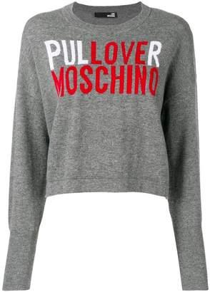 Love Moschino cropped logo knit sweater