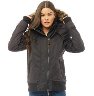 Superdry Womens Microfibre Windbomber Jacket Black