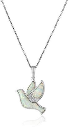 Sterling Silver Created Opal with Diamond Dove Pendant Necklace