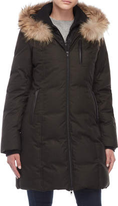 Soia & Kyo Real Fur Trim Bibbed Down Coat